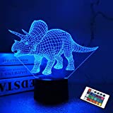 Luz nocturna LED Triceratops 3D