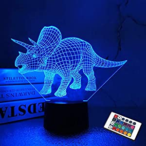 Dinosaur Gifts, Night Light for Kids Dinosaur T-rex 3D Night Light Bedside Lamp with Remote Control 16 Color Changing Xmas Halloween Birthday Gift for Child Baby Boy