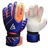 ATHPIK Kids & Youth Soccer Goalkeeper Gloves, Junior Indoor Outdoor Goalie Gloves with Finger Spines Protection and Strong Grip for Girls and Boys, Size 6
