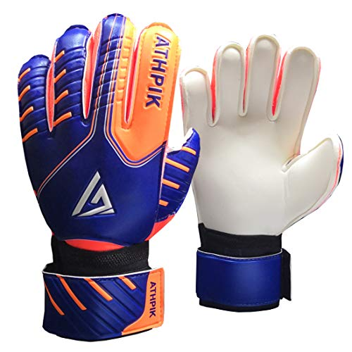 Kids & Youth Soccer Goalkeeper Gloves, Junior Indoor Outdoor Goalie Gloves with Finger Spines Protection and Strong Grip for Girls and Boys, Size 6
