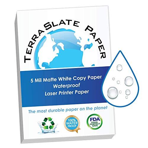 TerraSlate Kopierpapier, wasserfest, für Laserdrucker, regenfest, 5 MIL, 21,6 x 27,9 cm, 50 Blatt