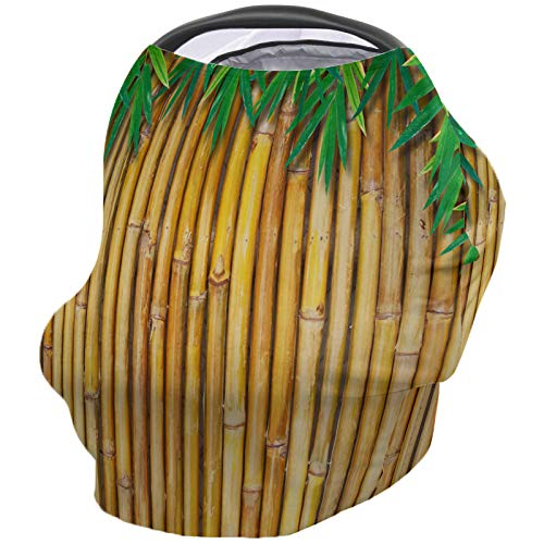 Buy Nursing Breastfeeding Cover Car Seat Canopy for Baby Tropical Yellow Bamboo and Green Bamboo Lea...