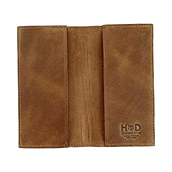Hide & Drink Rustic Durable Thick Leather Checkbook Cover Minimalist Organizer Wallet Everyday Accessories Bifold Checkbook Holder Handmade Includes 101 Year Warranty    Bourbon Brown