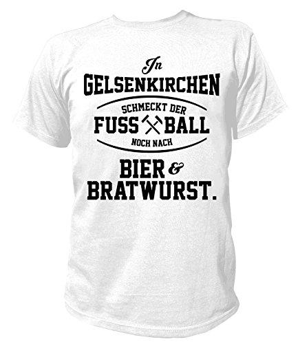 Artdiktat Herren T-Shirt - In Gelsenkirchen schmeckt der Fußball noch nach Bier und Bratwurst Größe L, weiß