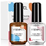Vrenmol Nail Primer and Prep Dehydrator Set - Bonding Primer and Nail Dehydrate for Professional Long-lasting Gel Polish Poly Nails Gel and Acrylic Powder