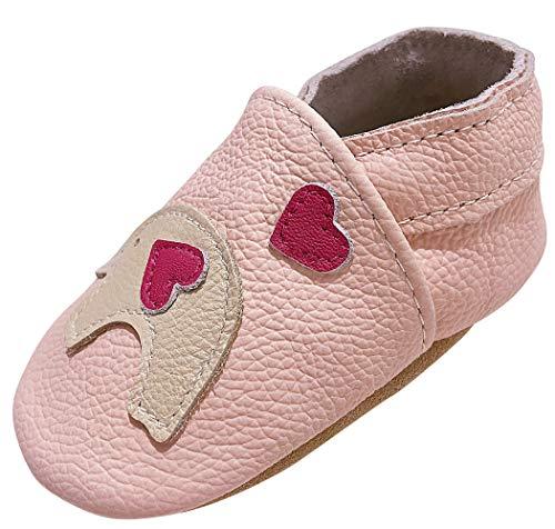 Suave Cuero Zapatillas Bebé Antideslizantes Gateo Calzado Bebés Suave Cómodo Zapatos Infantiles Primeros Pasos Pantuflas Rosa 6-12 Meses