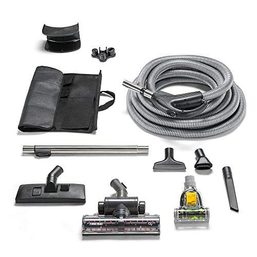 Universal Central Vacuum Hose Kit w Turbo Nozzles - Fits All Brands