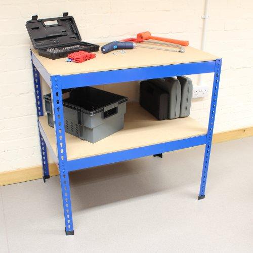 Hardcastle 90cm Stahl-Werkbank mit 2 Regalen - blau