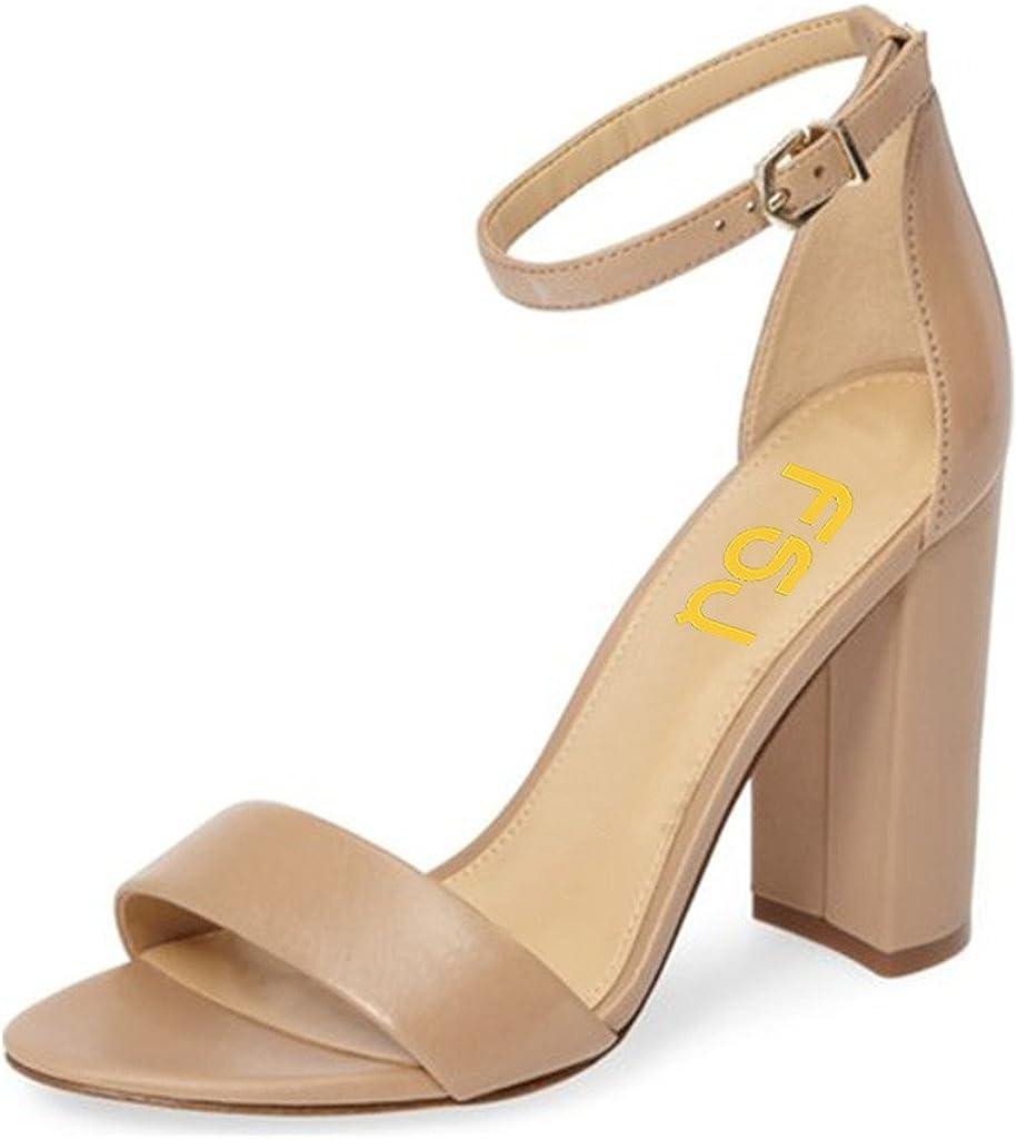 FSJ Women Classic Chunky High Heel Sandals Open Toe Ankle Strap Single Band Dress Shoes Size 4-15 US