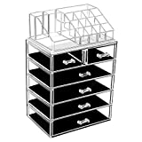 Large Cosmetic Makeup and Jewelry Storage Case Display - Spacious Design - Great for Bathroom, Dresser, Vanity and Countertop (4 Large, 2 Small Drawers, Clear)