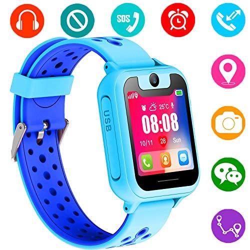 Niños GPS Smartwatch, Reloj Inteligente Anti-perdido para niños niñas niños compatibles para iPhone Android (Azul)