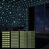521 estrellas que brillan en la oscuridad, luminosos Pegatinas de Estrellas para techo y pared, Estrellas fluorescentes pegatinas para decoración de dormitorio de niñas, niños y niños