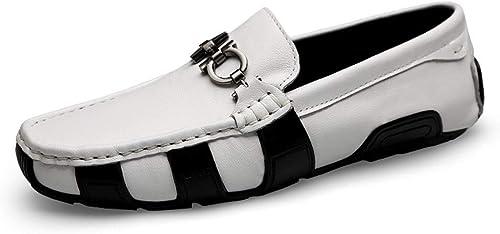 EGS-chaussures Mocassins De Conduite pour Homme Mocassins Bateau Bateau Slip sur Chaussures en Cuir Ox Metaldecor Chaussures de Cricket (Couleur   Blanc, Taille   41 EU)  être en grande demande