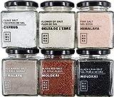 Sales Gourmet: Sal Negra Hawai (200g), Sal Roja Hawai (200g), Flor de Sal Delta del Ebro (150g), Sal en Escamas Chipre (100g), Sal Rosa (200g) y Sal Kala Namak (200g)