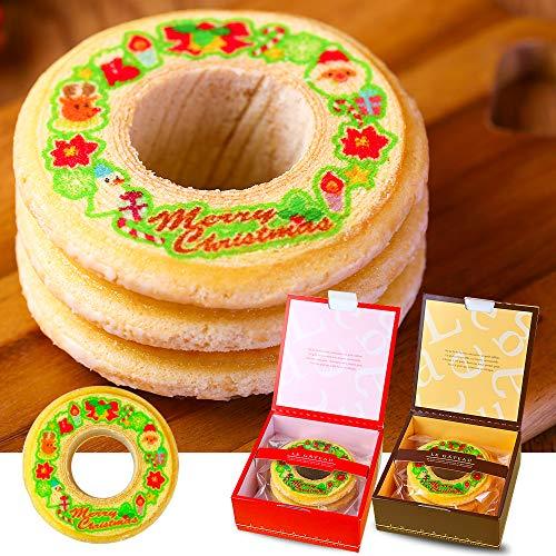 クリスマス用 バウムクーヘン 1個 ギフト箱入り Xmasプレゼント 贈り物 記念品赤色(レッド)の箱
