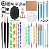 Haorw 40 Piezas Mandala Dotting Pen Tools Set Stencil Ball Stylus Bandeja de Pintura para Pintar Rock Coloring Drawing Drafting Art Supplies