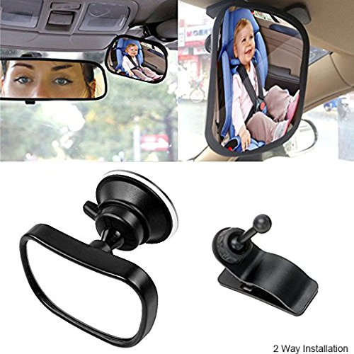 Car Mirror for Baby, Alotm Back Seat Baby Mirror - Rear View Baby / Infant In Back Seat - Shatter-proof Safety - Suction Cup on Windshield or Clip on Car Sun Visor