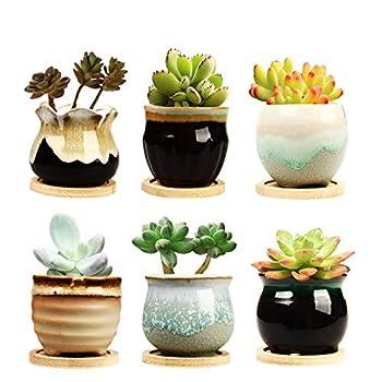 Brajttt 2.5 Inch Ceramic Succulent Planter Pot with Drainage,Planting Pot Flower Pots,Small Planter Pots for Mini Plant Ceramic Flowing Glaze Base Serial Set with Holes
