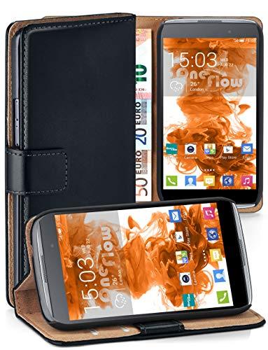 moex Premium Handytasche kompatibel mit Alcatel OneTouch Idol 3 4.7 - Klapphülle mit Kartenfach und Ständer, magnetische Handy Tasche - Flip Case Schutzhülle, Schwarz