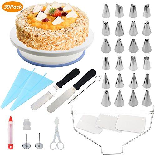 WisFox Decorazione la Torta Kit di Utensili Decorazioni Torte 39 Pezzi per Torta, Borse ed Ugelli per Glassa, Giradischi, Spatola, Chiodo per Fiori, Fresa per Dolci, Spazzola