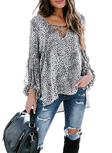 Lovezesent Women's Plus Size White Leopard Chiffon Blouses Sexy V Neck Lace Up Long Sleeve Boho Shirts High Low Flowy Top for Ladies 2XL