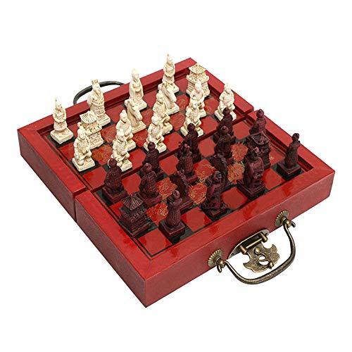 Schachspiel, Internationales Schach Set, Terrakotta-Krieger/Qing-Dynastie Schachfiguren, Klappbar Schachbrett, Chess für Party Kinder Erwachsene Geschenk Reisen Familien (Terrakotta-Krieger)