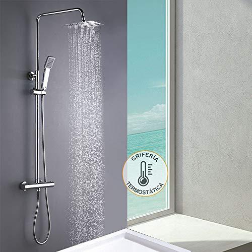 Columna de ducha MOL con grifo termostático y tubo redondo extensible de 80 a 120 cm. Rociador y ducha de mano cuadrados, acabados cromados. Repuestos originales