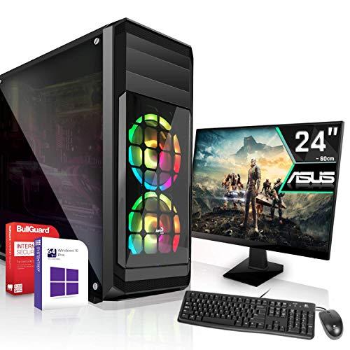 Gaming Komplett PC Set Intel Core i5-11600 - 6X 2.8GHz  Marken Board 24 Zoll Monitor Nvidia Geforce GTX 1050Ti 4GB 512GB SSD Windows 10 Pro WLAN 3 Jahre Garantie