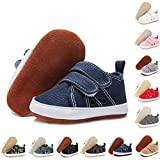 BENHERO Baby Boys Girls Shoes Infant Canvas Sneakers Soft Sole 100% Leather Anti-Slip Sole Hook and Loop Newborn Infant First Walkers Crib Shoes(12cm,6-12 Months Infant, A/Jeans)