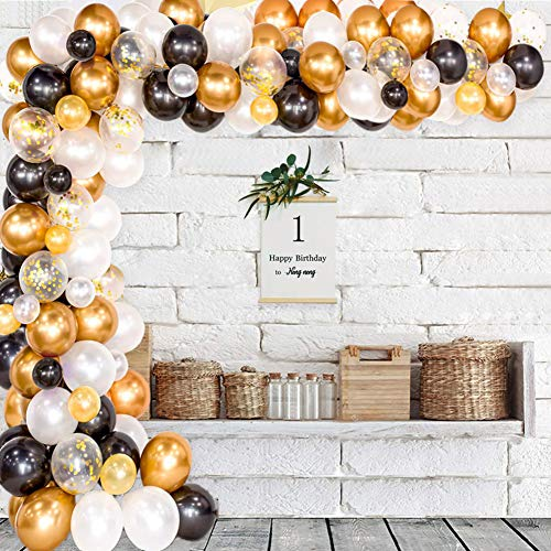 Xiangmall 128 Kit de Guirnaldas de Globos Negro y Oro Arcos Globos Metálicos de Látex Confeti Tira Cinta Globos Herramienta de Atar para Decoración de Fiesta de Cumpleaños Boda Graduación Centro