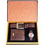 Souarts Gift for Men-Watch Set for Men Artificial Leather Watch+Rachet Belt+Wallet Gift Set with Box Organizer (Brown)