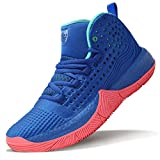 WETIKE Girls Basketball Shoes Big Kid Comfortable Shoes for Girls Hightop Sneakers Durable Basketball Shoes for Kids Non-Slip Youth Girls Basketball Shoes Fashion Shoes Size 6 Blue
