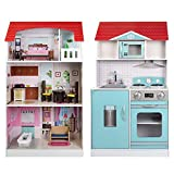 ColorBaby- Cocinita de madera y casa de muñecas 2 en 1 (85292)