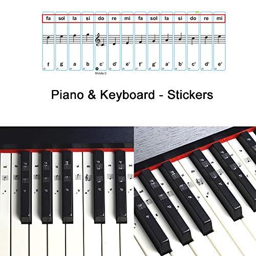ROLLIN pegatinas para teclado piano de cola piano digital piano electrico piano 88 teclas | pegatinas notas musicales para principiantes | aprender las partituras piano facil