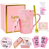 Boss Lady Gifts for Women - Boss Lady Mug - Birthday Gift for Women - Funny Pink Coffee Mug Gifts Ideas for Women, Boss Female, Best Female Friend, Her, Wife, Mom, Sister, Ceramic Marble 14oz