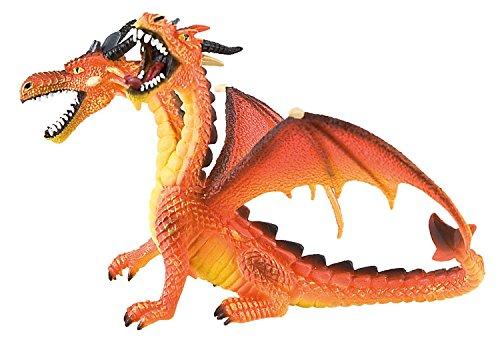 Bullyland 75598 - Spielfigur, Drache mit 2 Köpfen orange, ca. 13,5 cm lang, ideal als Torten-Figur, detailgetreu, PVC-frei, tolles Geschenk für Kinder zum fantasievollen Spielen
