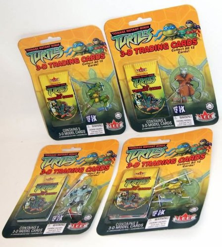 Vintage Teenage Mutant Ninja Turtles 3D Trading Cards with Collectible Leonardo Figure
