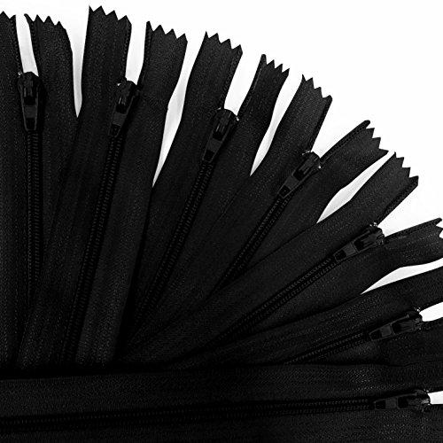 KGS Nylon Fermeture éclair   9 Pouces / 23 cm   20 pcs/Pack (Noir)