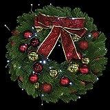 UKCOCO Guirnalda Artificial de Árbol de Navidad con Luces LED Adornos de Bola a Prueba de Golpes de Navidad 40Cm para Decoraciones de Puerta de Vacaciones