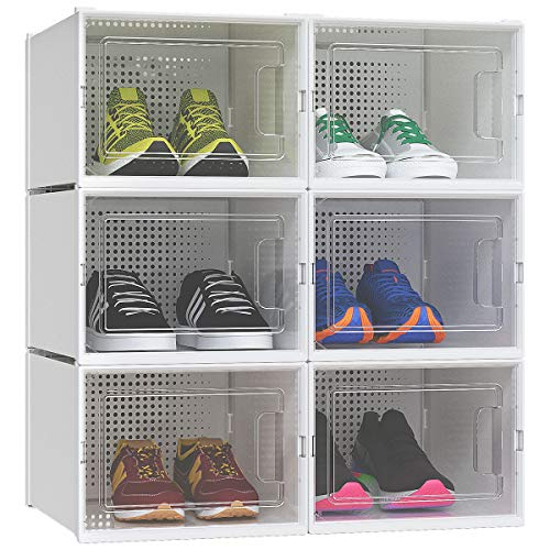 YITAHOME Shoe Box, Set of 6 Large Size Shoe Storage Organizers Heavy Duty Stackable Clear Shoe Storage Box Rack Clear Drawer-Black
