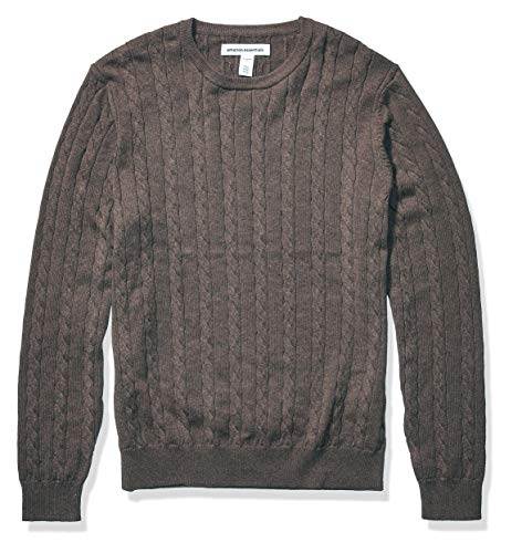 Amazon Essentials Men's Crewneck Cable Cotton Sweater, Brown Heather, Large