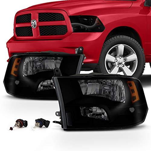For [Quad Style] 2009-2018 Dodge Ram 1500 | 10-18 Ram 2500/3500 Black Smoked Headlight Driver + Passenger Side