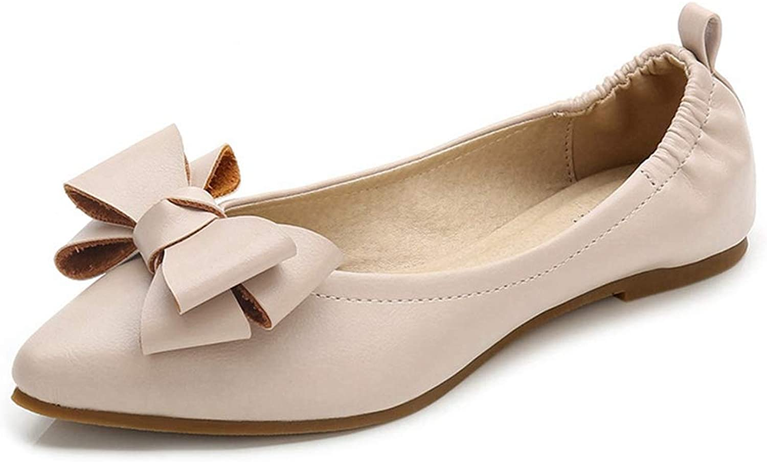 CYBLING Women's Comfort Bow Pointed Toe Ballet Flats Light Soft Slip On Casual shoes