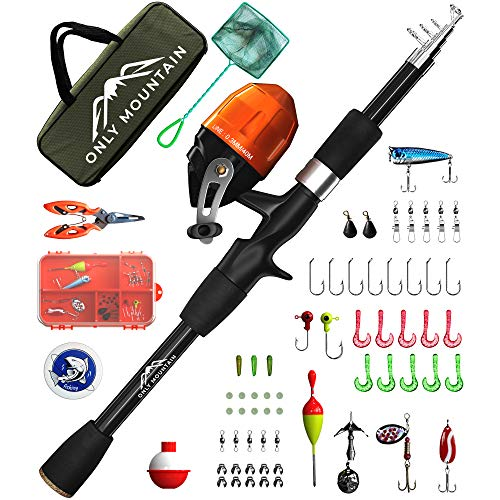 ONLY MOUNTAIN Kids Fishing Pole - Telescopic Fishing Rod and Reel Combo with Spincast Reel, Tackle Box, Fishing Net, Fishing Tackle and Gear, Fishing Accessories for Boys and Girls