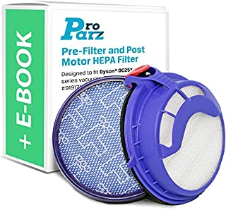 Pre Filter and Post Motor HEPA Filter Replacements for Dyson DC25 - Includes Bonus E-Book - Replaces Parts 919171-02 and 916188-06 - Combo Pack