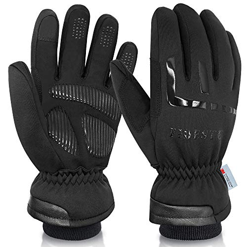 FIDESTE -40℉ Waterproof Winter Thermal Gloves - 3M Thinsulate Windproof Touch Screen Warm Gloves - for Driving Motorcycle,Cycling,Running,Outdoor Sports - for Women and Men - Black (M)
