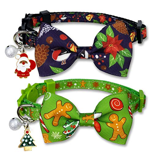 Pohshido Christmas Holiday Cat Collar with Bow tie and Bell, Breakaway Kitty Kitten Collar for Girl and boy Gingerbread