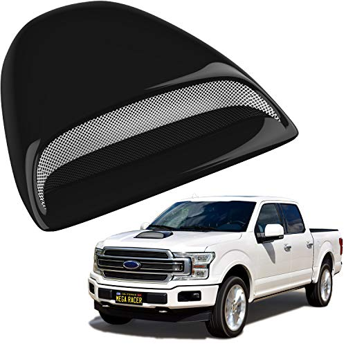 Mega Racer Black Automotive Hood Scoops for Trucks - JDM Racing Style Front Decorative Air Vents with Aero Dynamic Air Flow Exterior Intake Cover 3M Tape Adhesive, Universal Fit Car Wash Safe