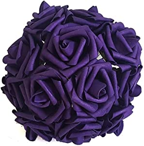 Eternal Blossom Artificial Flower Rose 8cm, Fake Flower Stem 20pcs Real Touch Artificial Roses for DIY Bouquets Wedding Party Home Decorations (Deep Purple)