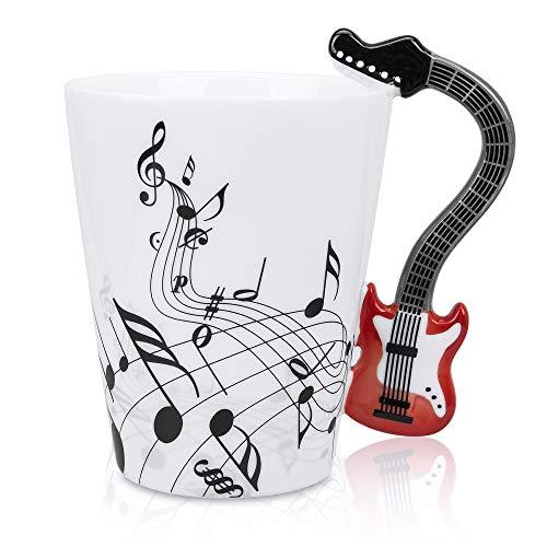 LanHong Kaffeetasse mit Musiknoten und Gitarrenmotiv, 350 ml, für Tee, Milch, Kaffeetasse, Keramik, Geschenk für Freunde, Rot